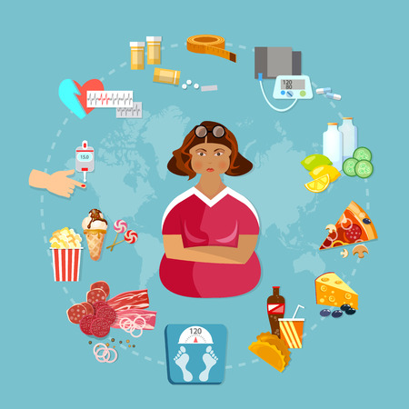 overeating: Obesity problem infographics fat people bad food unhealthy eating diabetes causes vector illustration
