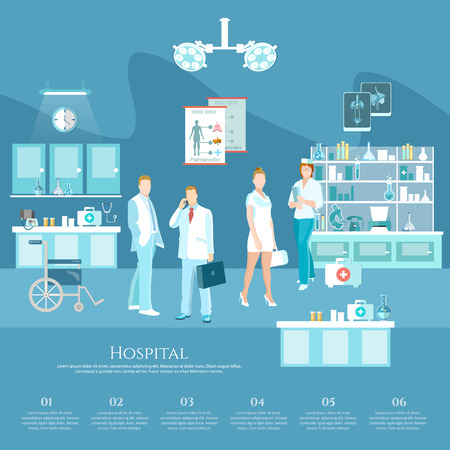 operation room: Medicine infographics hospital staff health service surgery operation room doctor and patient vector illustration