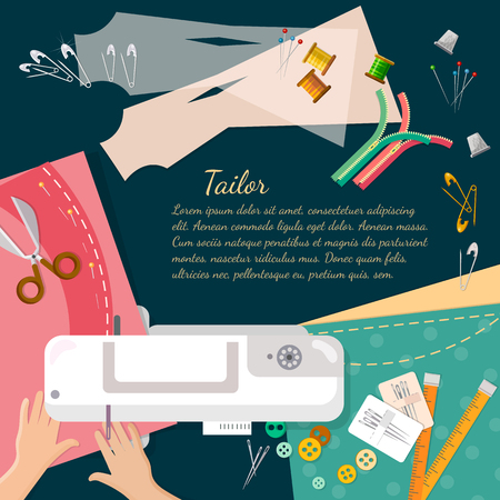 catoon: Seamstress work on sewing machine professional tailoring top view manufacture of wearing apparel vector catoon illustration
