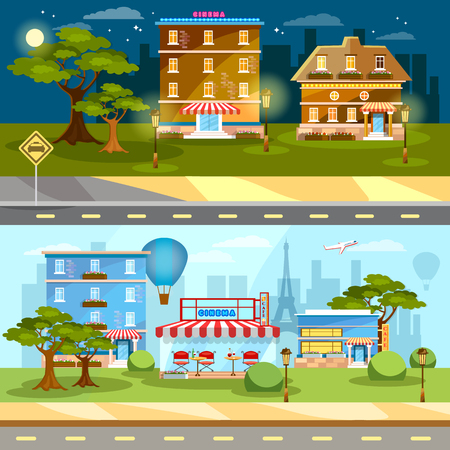Cityscape banner night and day city town life banner vector illustration