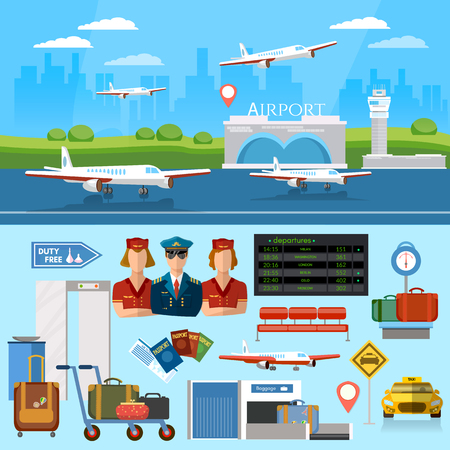 Airport set aircraft runway airline pilot stewardess airport terminal baggage inspection scanner international airlines vector illustration Illustration