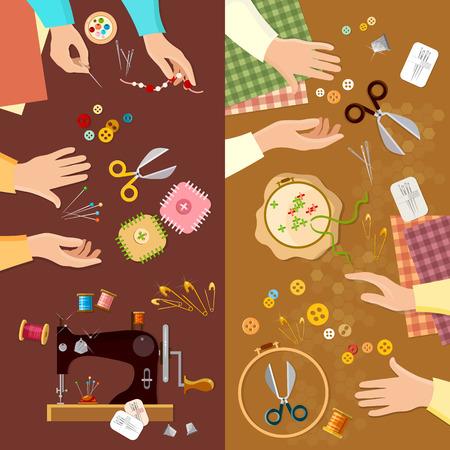 seamstress: Tailor banner seamstress fashion designer needlework lessons team hands vector illustration Illustration