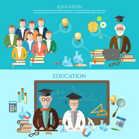 bannières Éducation groupe d'étudiants enseignant va à l'école infographies illustration vectorielle