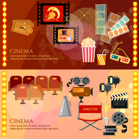 Cinema banners movie theater entrance tickets clapper popcorn vector illustration