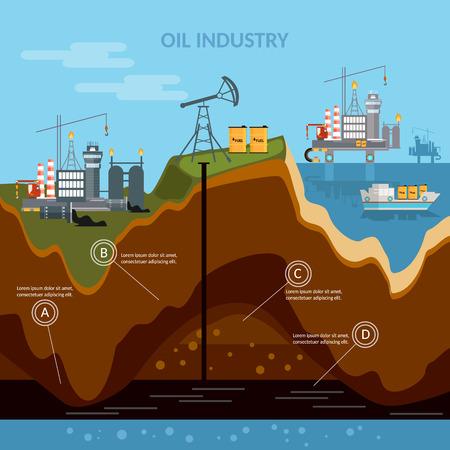 infografiki przemyśle naftowym proces produkcji otworów wiertniczych wektorze Ilustracje wektorowe