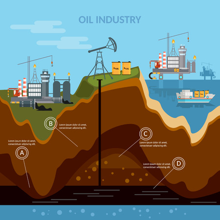 oil exploration: Oil industry infographics production process of drilling wells vector