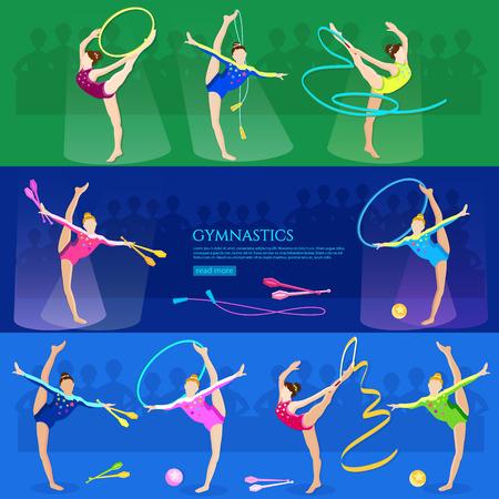 athletics: Gymnastics girls professional sports athletics vector illustration Illustration