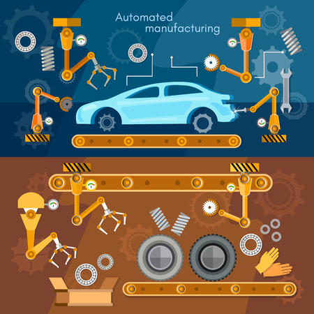 laborer: Car assembly line banner automotive industry conveyor belt vector illustration Illustration