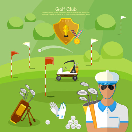 elite sport: Golf club sports golfing elements vector illustration Illustration