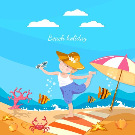 children crab: Summer holiday happy child playing on the beach vector Illustration