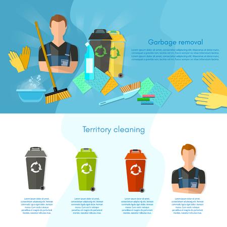 waste separation: Garbage sorting infographics trash cans sorting waste for recycling separation of waste on garbage bins vector