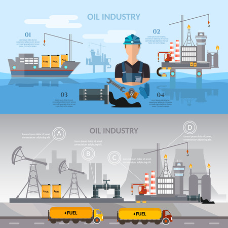 oil exploration: Oil industry infographics banner production process of drilling wells vector illustration