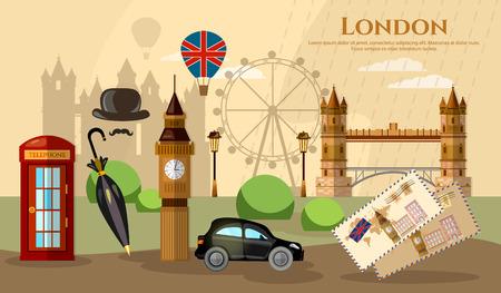 atraction: London banner capital of Great Britain atraction United Kingdom vector illustration Illustration