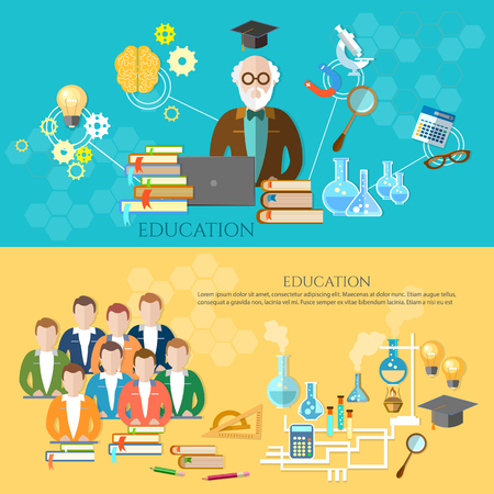 Education banners group of students teacher vector illustration Illustration