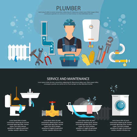 plumbing tools: Professional plumber banner plumbing repair service different tools and accessories vector illustration Illustration
