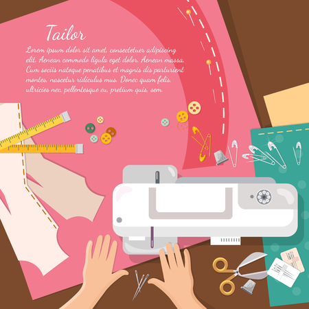 catoon: Seamstress work on sewing machine professional tailoring top view vector catoon illustration Illustration