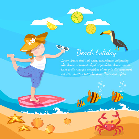 Summer holiday happy child playing on the beach vector illustration Illustration