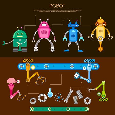 assembling: Set of cute robots conveyor belt assembling robots on factory vector