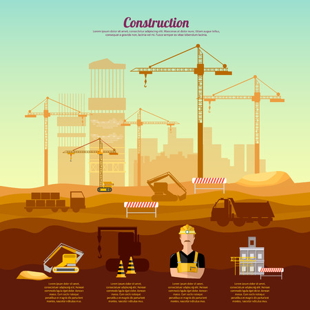 site: Construction site infographics industrial background vector illustration