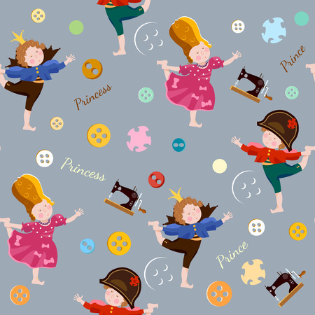 childrens playing: Funny kids seamless pattern playing prince and princess childrens theater scrapbooking  background