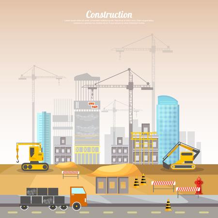 site: Construction site building house technical vector illustration. Under construction concept.