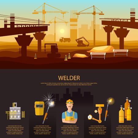 welder: Construction bridge professional welder working vector Illustration