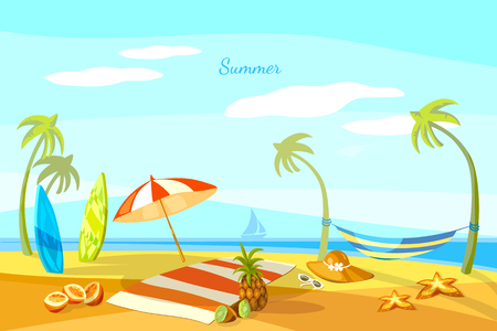 Summer beach cartoon towel umbrella starfish surf boards vector Illustration
