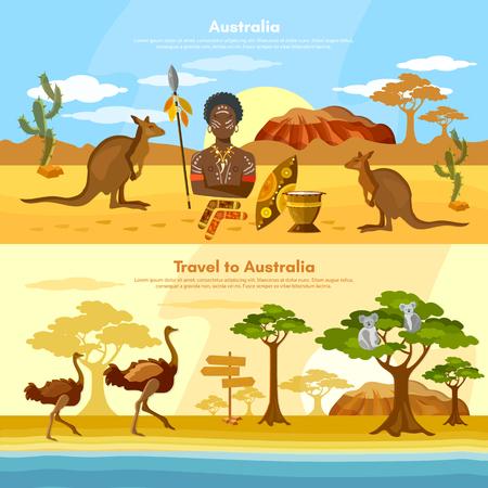 Australia travel banner Australian aborigines Australia people and animals  kangaroo ostrich koala vector illustration Illustration