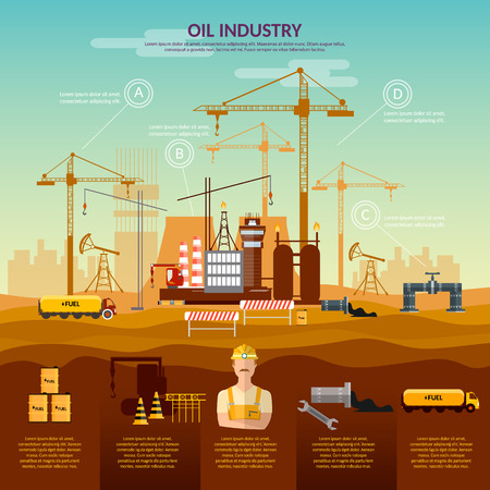 oil refinery: Oil and gas industry infographics construction of oil refinery plant fuel transportation