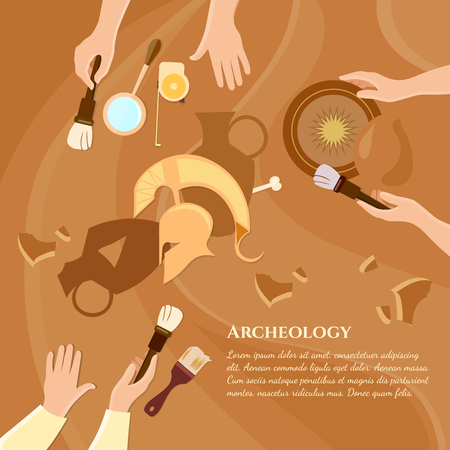 unearth: Archaeological excavation achaeologists unearth ancient history ancient artifacts vector illustration