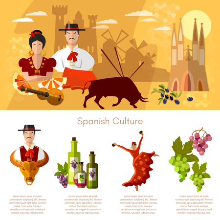 Spain infographics traditions and culture spanish attractions people vector illustration Illustration