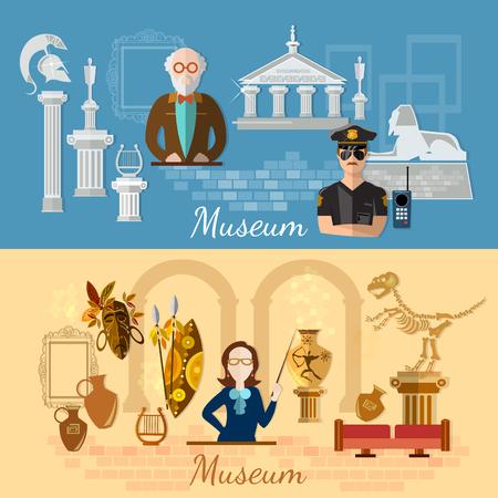 la historia y la cultura de la civilización guía ilustración vectorial banners museo de arqueología del museo