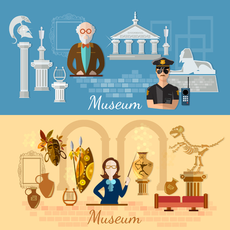 archaeology: Museum banners history and culture of civilization guide museum archeology vector illustration