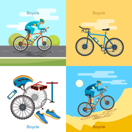 active lifestyle: Cycling active lifestyle sport set bicycle riders vector illustration