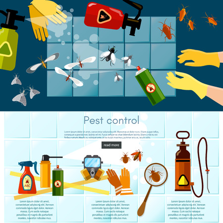 detecting: Pest control services detecting exterminating insects banner insects exterminator infographics vector illustration