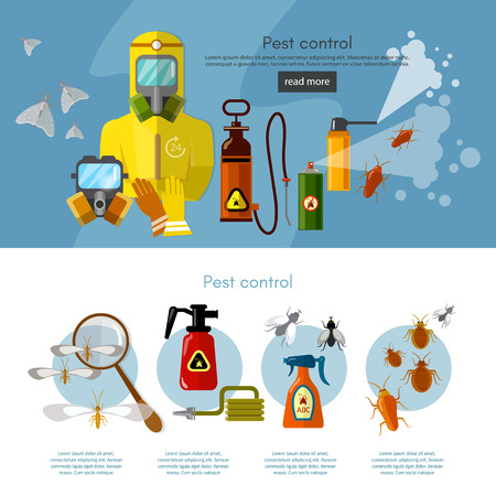 detecting: Pest control services insects exterminator detecting exterminating insects banner infographics vector illustration