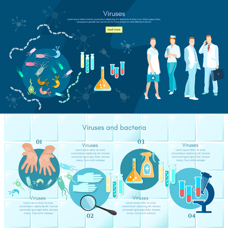 clinical: Microbiology infographics medical analysis medical research scientists test tube and microscope making research clinical laboratory vector