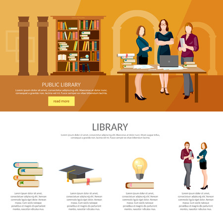 librarian: Library interior with people, reading books infographic librarian elements vector illustration Illustration