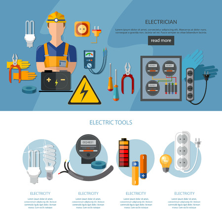 plug hat: Professional electrician infographics electricity tools flat vector illustration