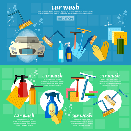 Car wash automatic car washing machine car care vector illustration