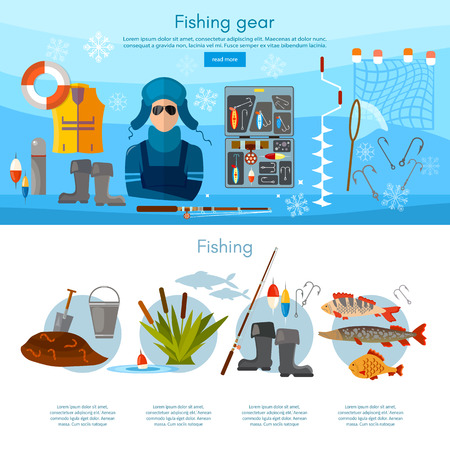 pike: Winter fishing infographics fishing rod, hooks, bait, fish, worms, vector flat illustration