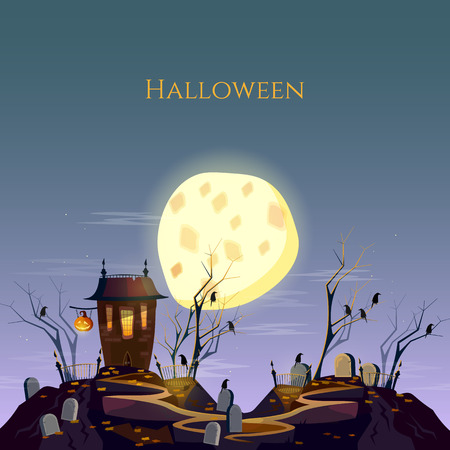 ghost house: Halloween background ghost house graveyard at night cartoon vector Illustration