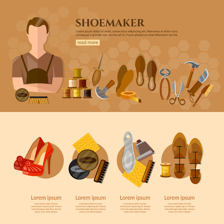 shoe repair: Shoemaker infographics professional equipment cobbler shoe care shoe repair flat vector illustration