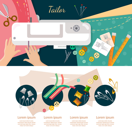 catoon: Seamstress work on sewing machine infographic elements top view professional tailoring manufacture of wearing apparel vector catoon illustration