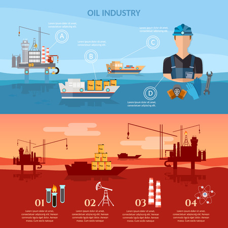 exploration: Oil and gas industry infographics industry oil exploration extraction transportation products vector illustration