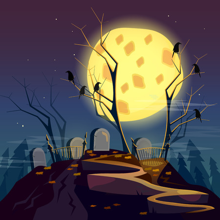 Halloween background graveyard at night cartoon spooky forest with dead trees cartoon vector