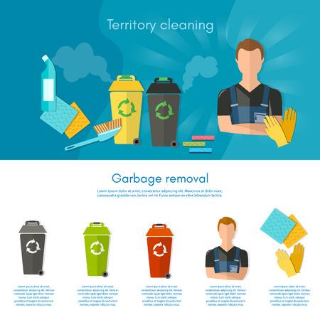 botes de basura: Basura infografía clasificación botes de basura separación de los residuos en los contenedores de basura del vector plana Vectores