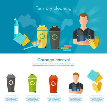 waste separation: Garbage sorting infographics trash cans separation of waste on garbage bins flat vector