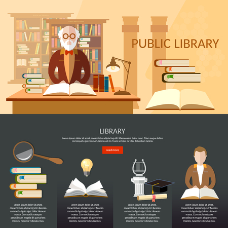 librarian: Public library infographic elements students read books librarian professor library interior with people reading books vector flat illustration
