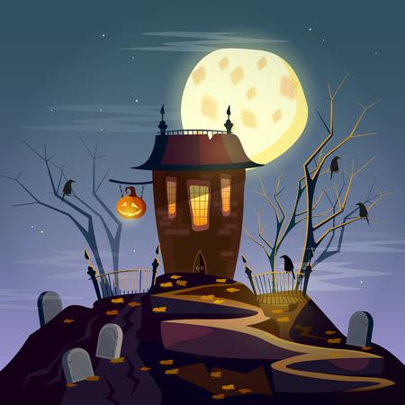 ghost house: Halloween background ghost house cartoon vector